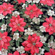 Mikulásvirág, karácsonyi mintás lakástextil dekorációs anyag - fekete