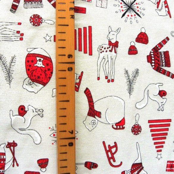 FROSTY, fehér-piros, lurexes karácsonyi lakástextil dekorációs anyag