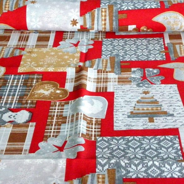 ADESTE, karácsonyi patchwork mintás lakástextil dekorációs anyag