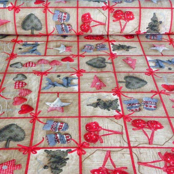 RAKKAANI, bézs karácsonyi mintás lakástextil dekorációs anyag
