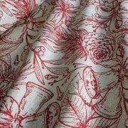 TOBOZ, natúr-bordó karácsonyi mintás lakástextil dekorációs anyag