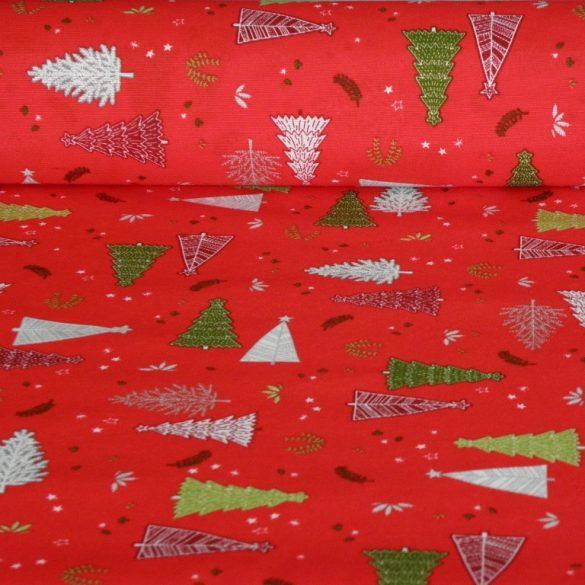 BOSCO, piros, fenyőfa mintás, karácsonyi lakástextil, dekorvászon
