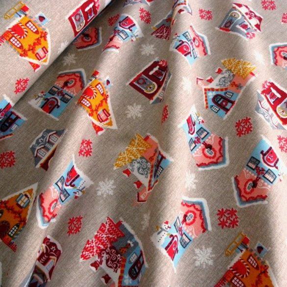 CASA, házikó mintás, karácsonyi lakástextil dekorációs anyag, drapp