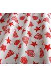 EDWIN, fehér, piros mintás, karácsonyi lakástextil, dekorvászon