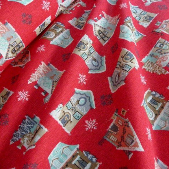CASA, házikó mintás, karácsonyi lakástextil dekorációs anyag, piros