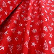 EDWIN, piros, fehér mintás, karácsonyi lakástextil, dekorvászon