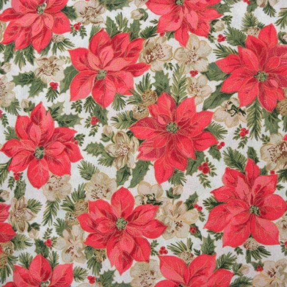POINSETTIA, karácsonyi, mikulásvirág mintás loneta, dekorvászon, 280 széles - maradék darab: 0,75 m