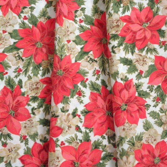 POINSETTIA, karácsonyi, mikulásvirág mintás lakástextil, dekorvászon, 280 és 140 cm széles