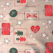 MARCOLINHO, lenhatású, karácsonyi mintás  lakástextil dekorációs anyag, 280 cm és 140 cm széles