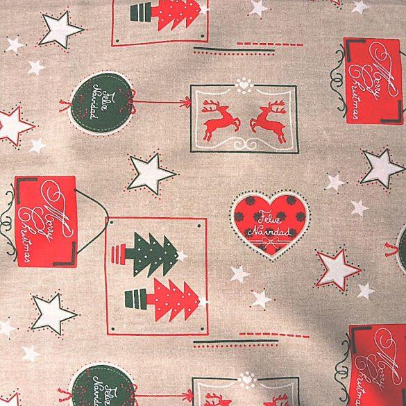MARCOLINHO, lenhatású, karácsonyi mintás lakástextil dekorációs anyag