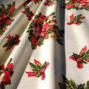 CACHO, karácsonyi, csokros mintás lakástextil, dekorvászon, 280 és 140 cm széles