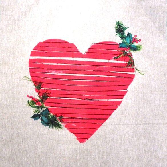 HEART, karácsonyi mintás díszpárna panel