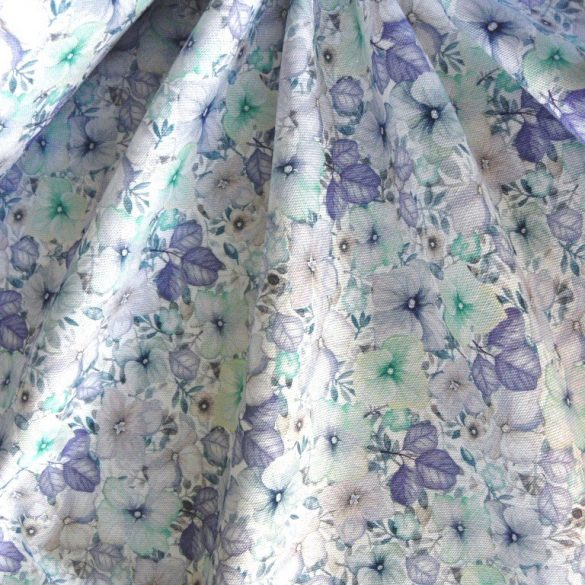CELTIC NAIMA, extra minőségű virágmintás pamutvászon, kék