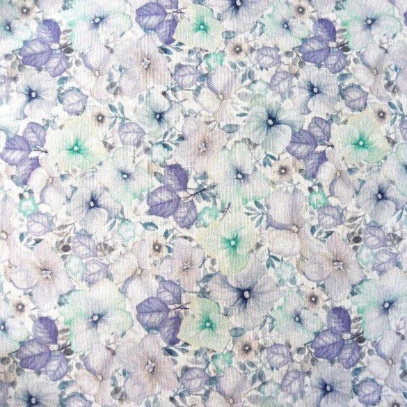 Naima, extra minőségű virágmintás pamutvászon, kék