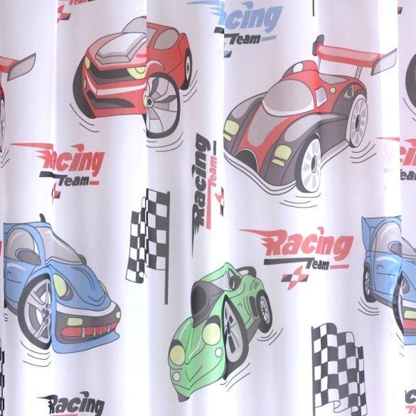 Racing, versenyautós gyerekmintás voile, fényáteresztő függöny anyag, 180