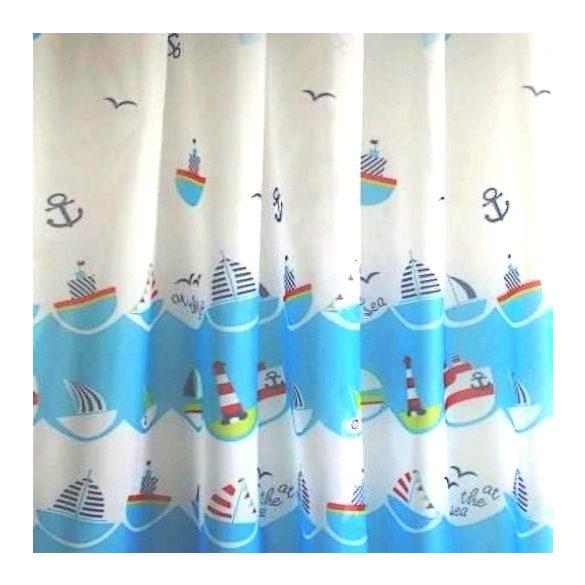 AHOY, hajós gyerekmintás voile, fényáteresztő függöny anyag, 180 cm magas