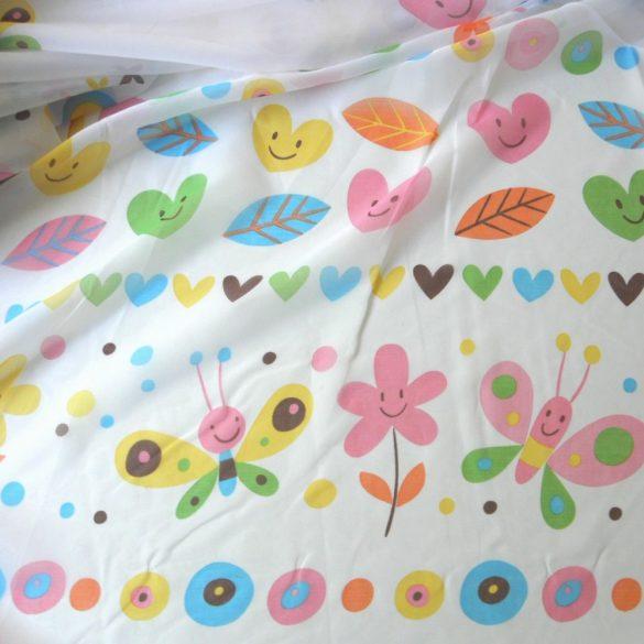 DEBÓRA, lepkés, virágos, szíves gyerekmintás voile függöny anyag