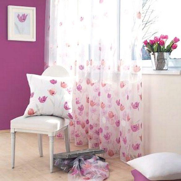 AMELIA, maratott organza-sablé, pink-korall tulipános függöny anyag