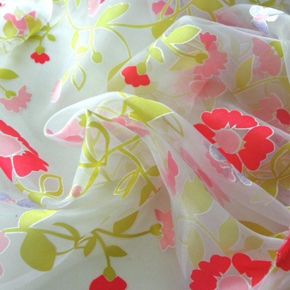PRIMAVERA, maratott organza, virágos, lepkés függöny anyag