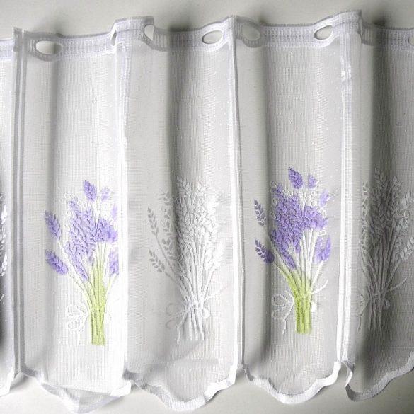 Fehér jacquard vitrázs függöny, levendula mintával - 45 cm magas