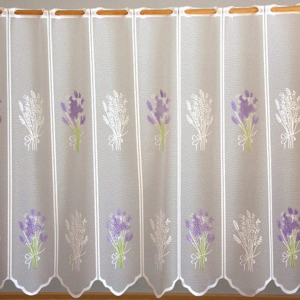 Fehér jacquard vitrázs függöny, levendula mintával - 45 cm magas - maradék darabok