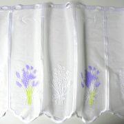 Fehér jacquard vitrázs függöny, levendula mintával - 60 cm magas