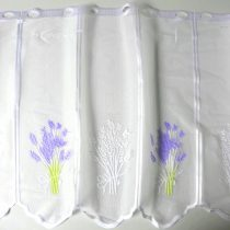 Fehér jacquard vitrázs függöny, levendula mintával - 60 cm