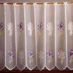 Fehér jacquard vitrázs függöny, levendula mintával