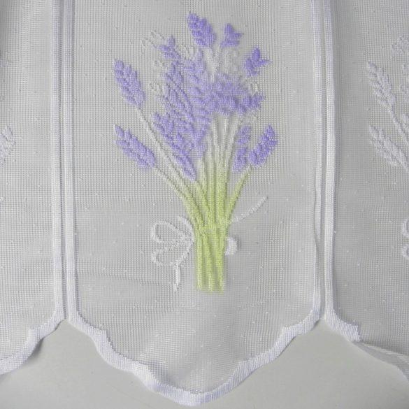 Fehér jacquard vitrázs függöny, levendula mintával - 90 cm magas