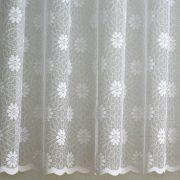 RACHEL, virágmintás fehér jacquard függöny anyag, 180 cm és 270 cm magas