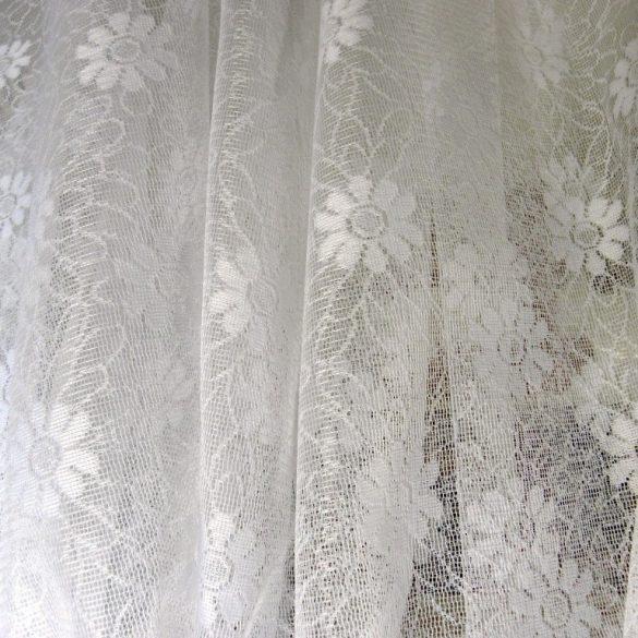 RACHEL, virágmintás fehér jacquard függöny anyag