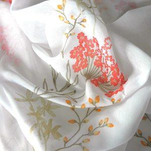 VERBENA, nyomott virágmintás, fényáteresztő, sablé függöny anyag