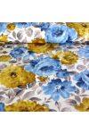 BAZSARÓZSA, nagy virágos lakástextil, dekorvászon, kék