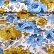 BAZSARÓZSA, nagy virágos pamut lakástextil, dekorvászon, kék