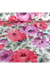 BAZSARÓZSA, nagy virágos pamut lakástextil, dekorvászon, pink