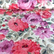 BAZSARÓZSA, nagy virágos lakástextil, dekorvászon, pink