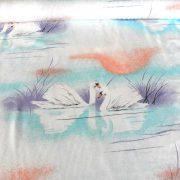 Pamut-szatén vászon, hattyú mintával