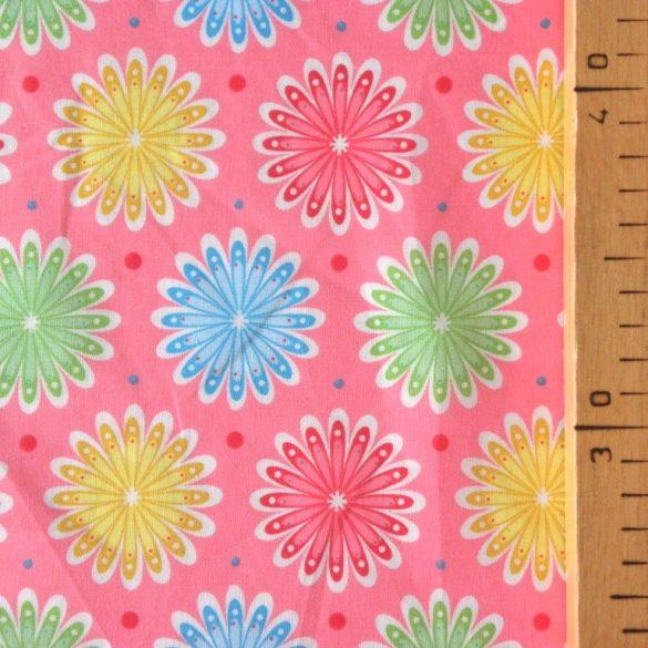 DAISY, virágmintás pamut-puplin méteráru, korall rózsaszín