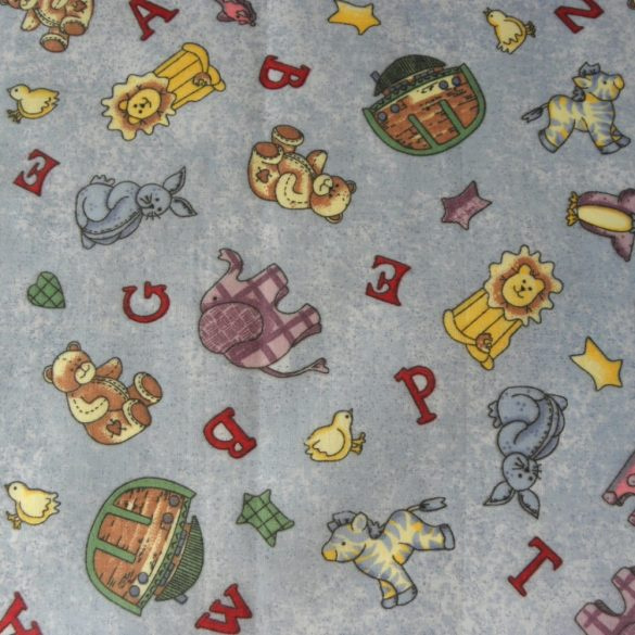 NOÉ, állatos, betűs kék gyerekmintás pamut-poliészter vászon méteráru