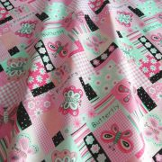 Pillangós patchwork, pink kevertszálas vászon