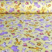 Állatos kismintás sárga kevertszálas vászon