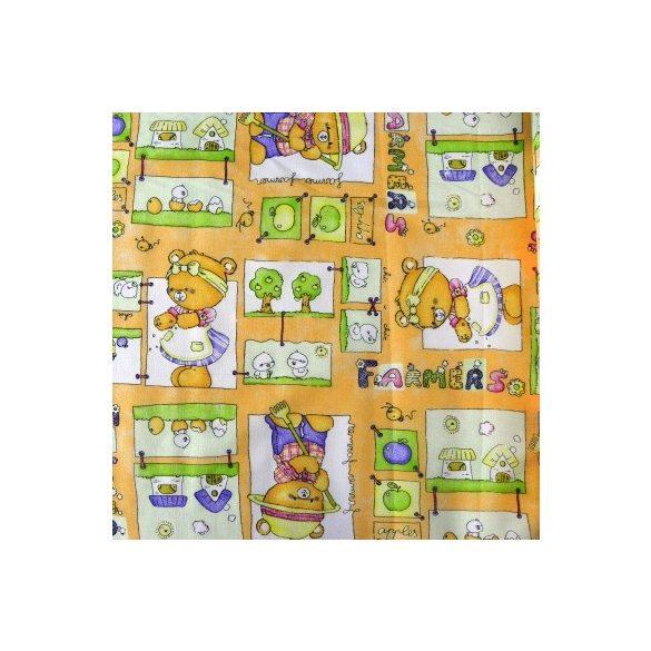 Kertészkedő macik, sárga kevertszálas vászon