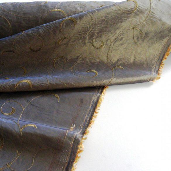 Hímzett gyűrt taft, sötétítő, dekorációs anyag - irident kék