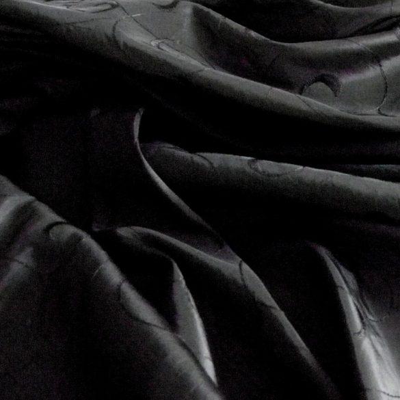 Hímzett gyűrt taft, sötétítő, dekorációs anyag - fekete
