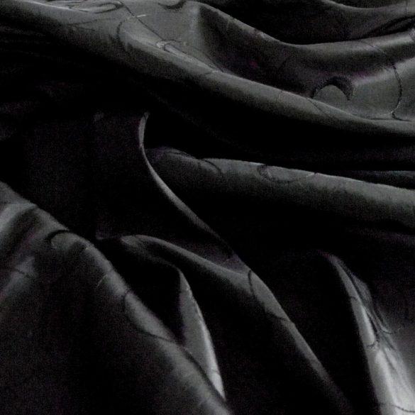 Hímzett gyűrt taft, fekete
