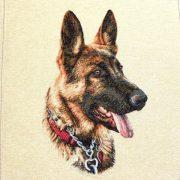 Rex, jacquard párna panel, farkaskutya, német juhász