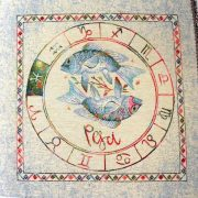 Horoszkóp, jacquard párna panel - halak