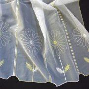 KIKELET, virág mintás hímzett vitrázsfüggöny anyag