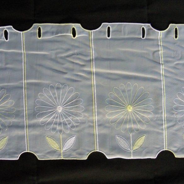 KIKELET, virág mintás hímzett vitrázsfüggöny anyag, 30 cm magas