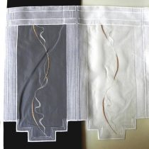 Hímzett, fehér voile vitrázs függöny, bézs mintával - 45 cm